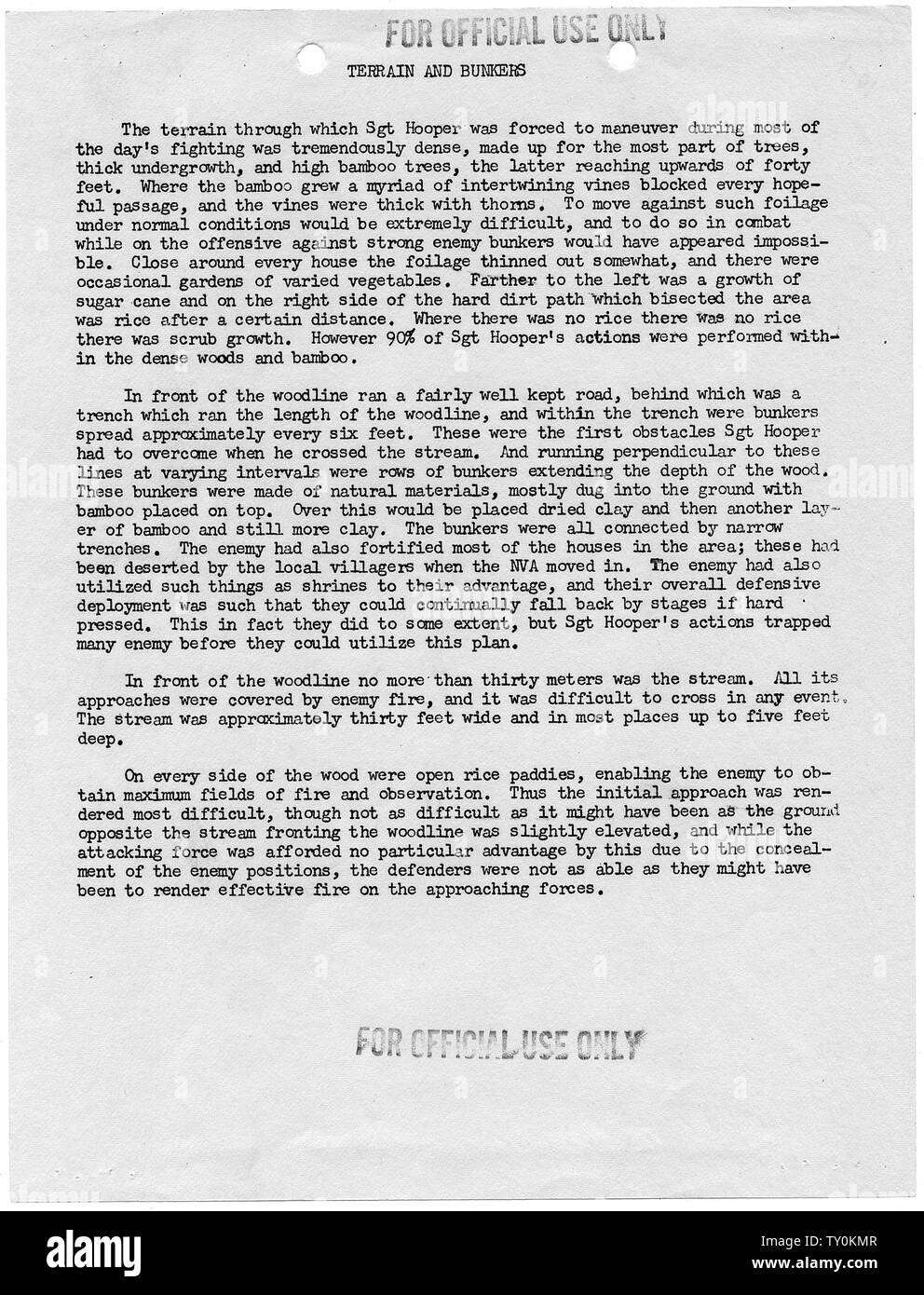Description of Terrain Included in Case File for Congressional Medal of Honor to be Awarded to Joe R. Hooper, Staff Sergeant, Company D, Second Battalion (Airborne), 501st Infantry, 101st Airborne Division, for actions at the Battle of Hue, 21 February 1968; Scope and content:  This document describes the terrain through which Staff Sergeant Joe R. Hooper passed on 21 February 1968, at the battle of Hue, Republic of Vietnam. Ultimately, Hooper was awarded the Congressional Medal of Honor. In an extraordinary occurrence, Staff Sergeant Clifford C. Sims of the same company earned the Congression - Stock Image