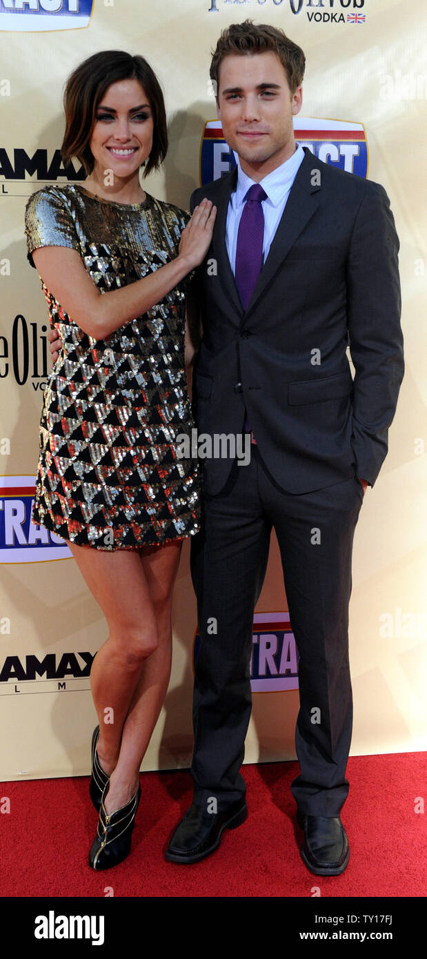 """Dustin Milligan, a cast member in the motion picture comedy """"Extract"""", attends the premiere of the film with his girlfriend, actress Jessica Stroup at the Arclight Cinerama Dome in Los Angeles on August 24, 2009.    UPI/Jim Ruymen Stock Photo"""