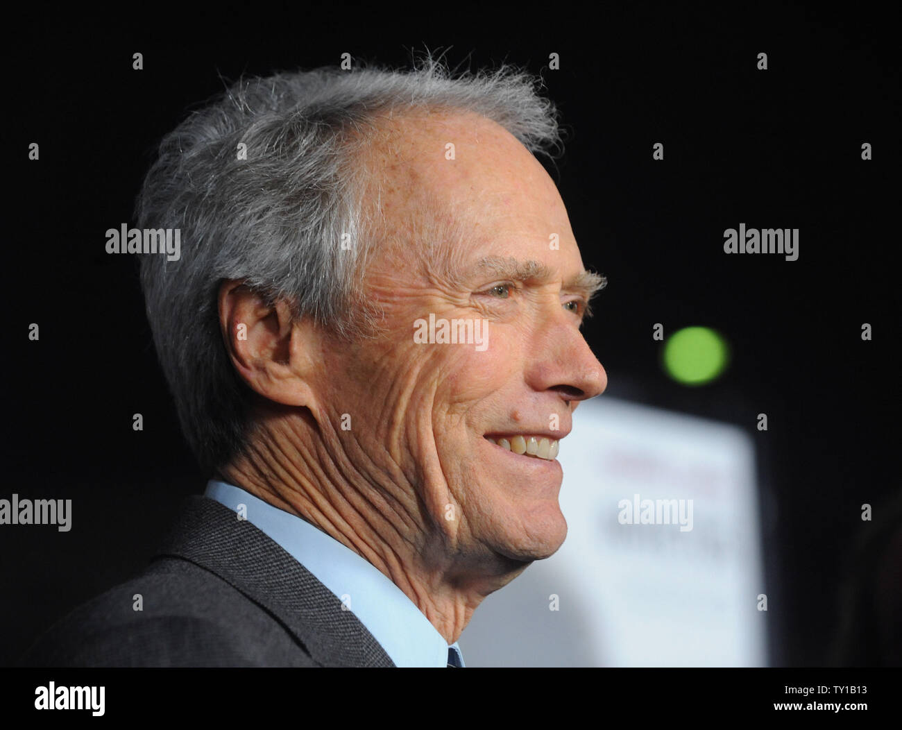 """Director Clint Eastwood attends the premiere of his new biographic drama motion picture """"Invictus"""" in Beverly Hills, California on December 3, 2009. Morgan Freeman portrays Nelson Mandela, in his first term as the South African President, initiates a unique venture to unite the apartheid-torn land: enlist the national rugby team on a mission to win the 1995 Rugby World Cup.     UPI/Jim Ruymen Stock Photo"""