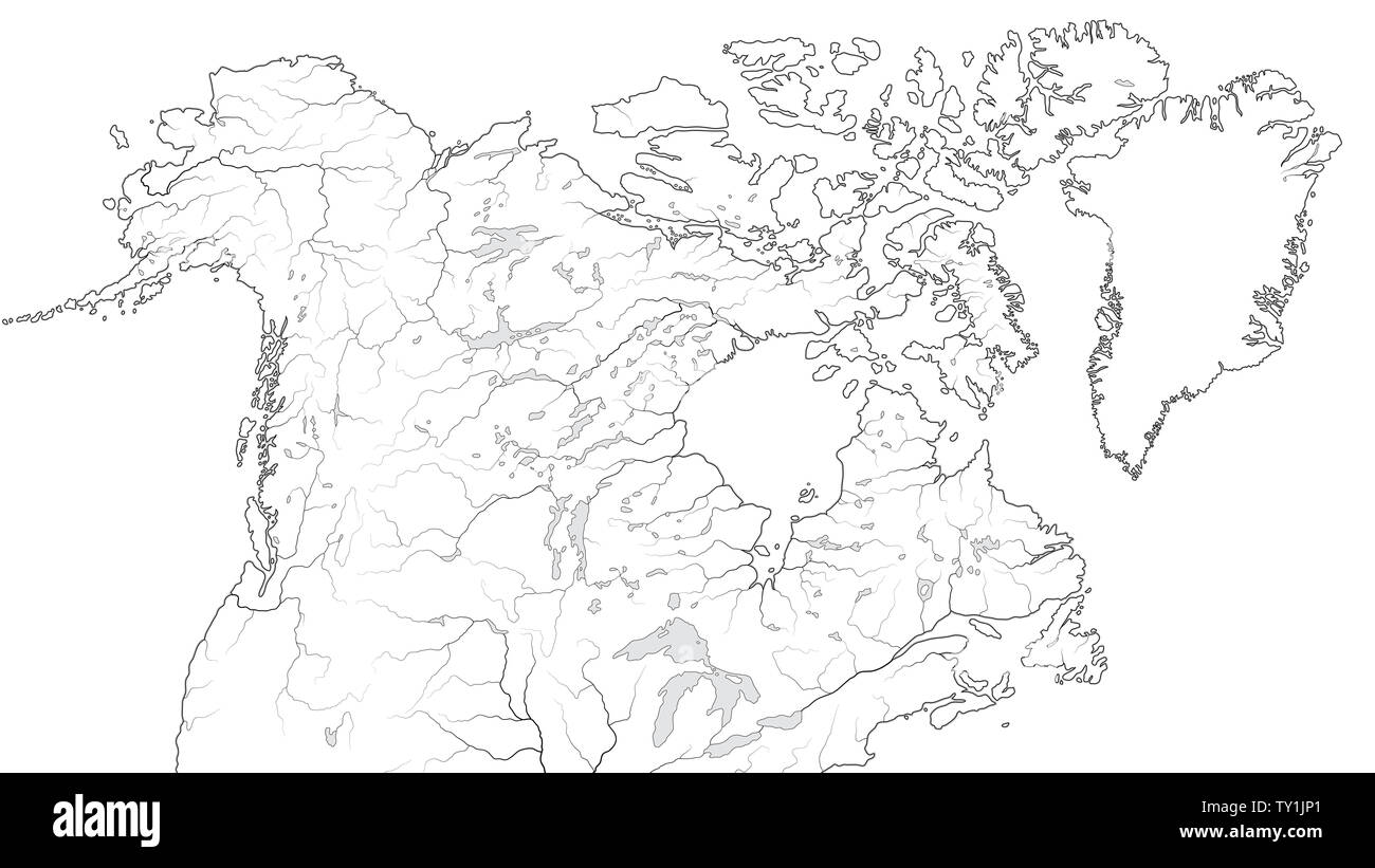 Picture of: World Map Of Canada And North America Region America Alaska Canada Greenland Labrador Peninsula Arctic Archipelago Great Lakes Chart Stock Photo Alamy