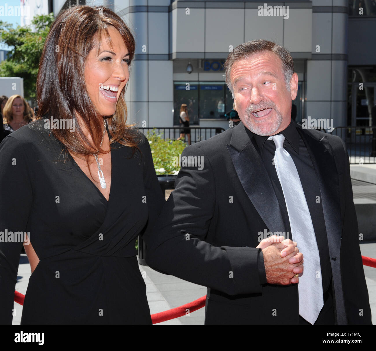 Actor Robin Williams , seen in this file photo with Susan Schneider arriving at the Creative Arts Emmy Awards in Los Angeles on August 21, 2010., was found dead in Marin County, California on August 11, 2014. He was 63.    UPI/Jim Ruymen Stock Photo