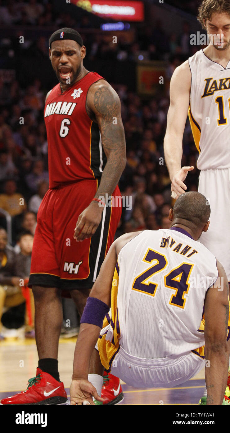 Miami Heat small forward LeBron James (6) yells at Los Angeles ...