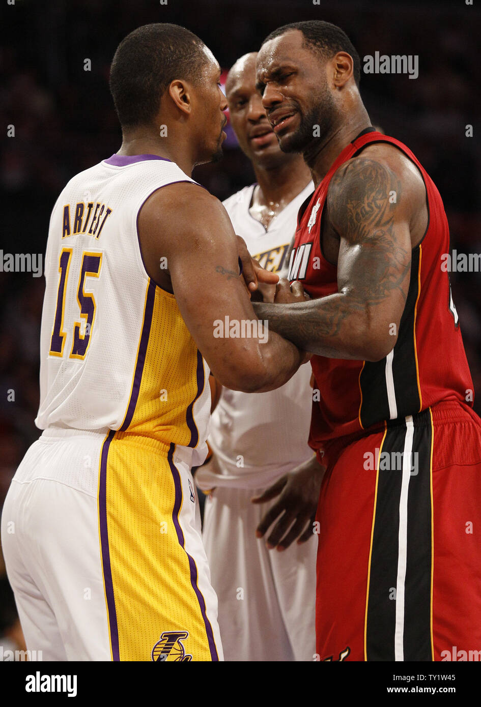 on sale 932eb e26b7 Los Angeles Lakers small forward Ron Artest (15) and Miami ...
