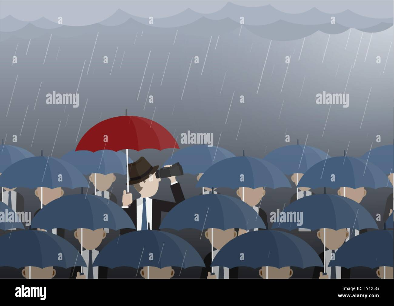 Business man looking through binoculars while get caught in rain. Vector illustration business vision, problem solving, creative, Leadership concept. Stock Vector