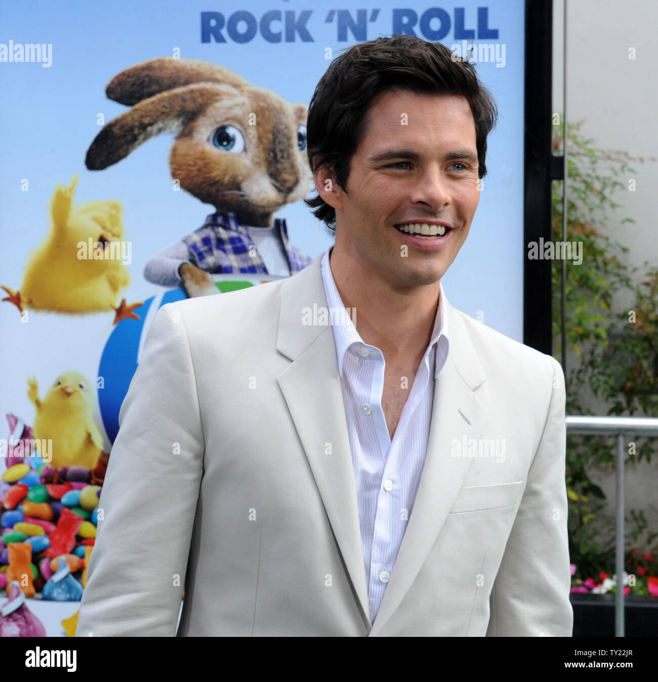 """Actor James Marsden, the voice of Fred in the animated motion picture comedy """"Hop"""", arrives at the premiere of film at Universal Studios in Universal City, California on March 27, 2011.   UPI/Jim Ruymen Stock Photo"""