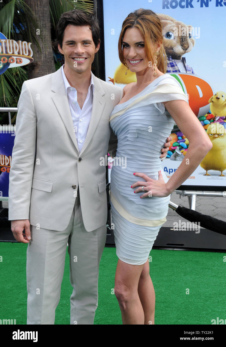"""Actor James Marsden, the voice of Fred in the animated motion picture comedy """"Hop"""", arrives with his wife Lisa Linde at the premiere of film at Universal Studios in Universal City, California on March 27, 2011.   UPI/Jim Ruymen Stock Photo"""
