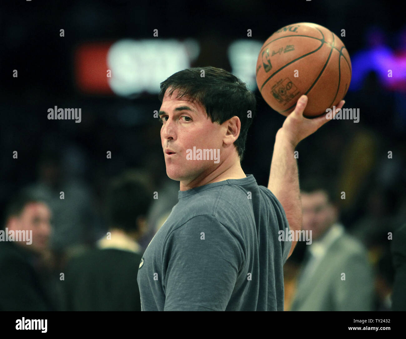 Dallas Mavericks Owner Mark Cuban On The Court During Pre