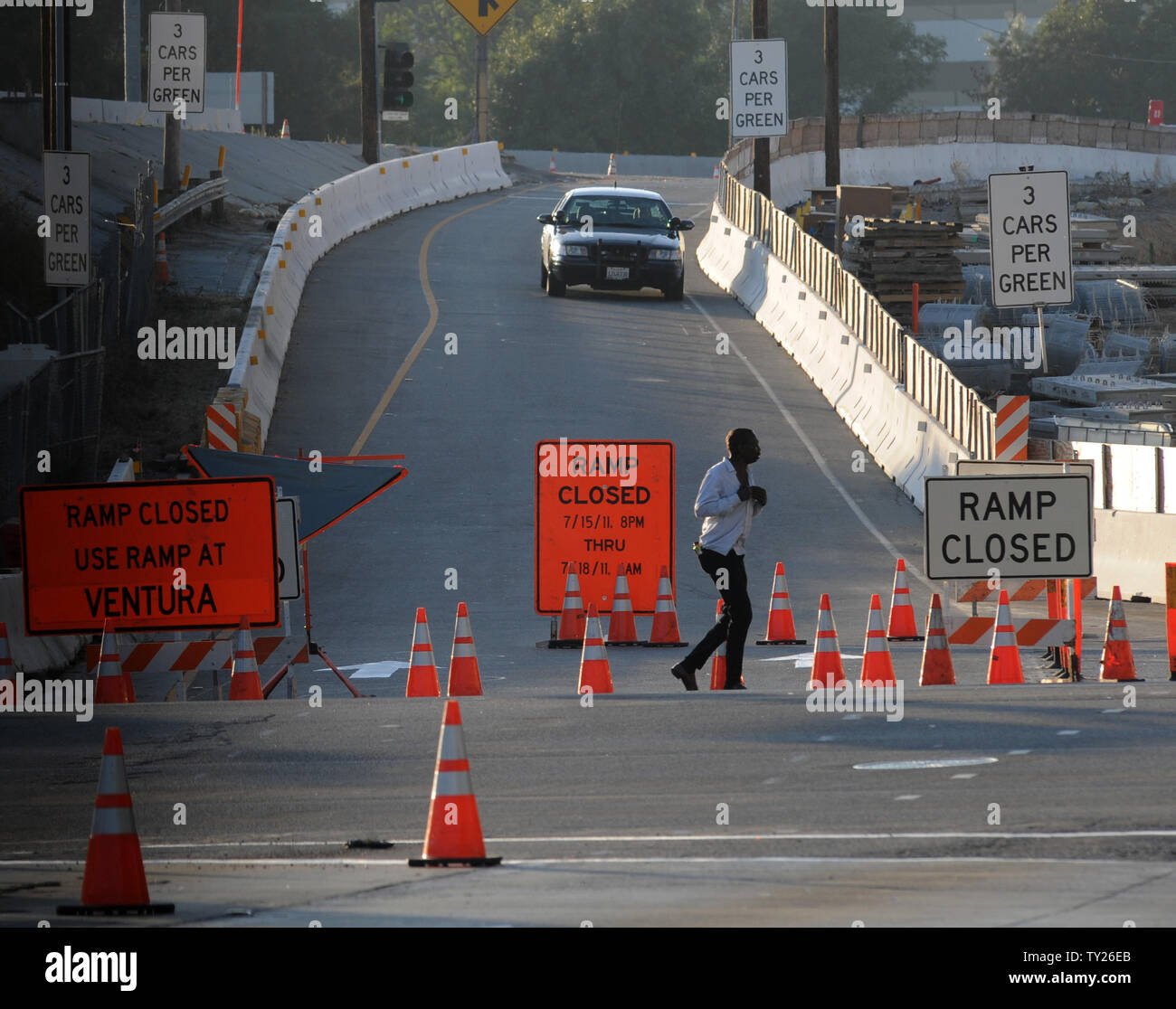 A California Highway Patrol vehicle enforces the closure of