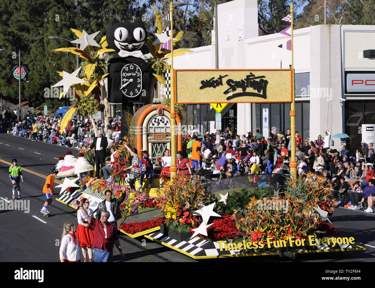 The California Clocks Company 'Timeless Fun for Everyone' float is seen in the 123rd Tournament of Roses Parade held in Pasadena, California on January 2, 2012.    UPI/Phil McCarten - Stock Image