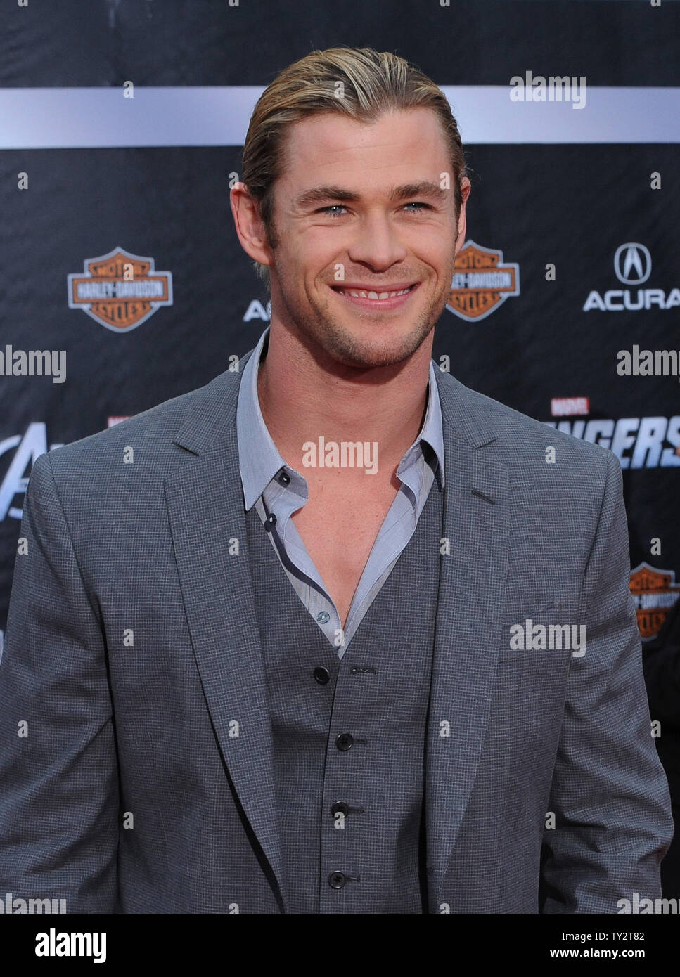 """Chris Hemsworth, a cast member in the sci-fi motion picture """"The Avengers"""", attends the premiere of the film at the El CapitanTheatre in the Hollywood section of Los Angeles on April11, 2012.   UPI/Jim Ruymen Stock Photo"""
