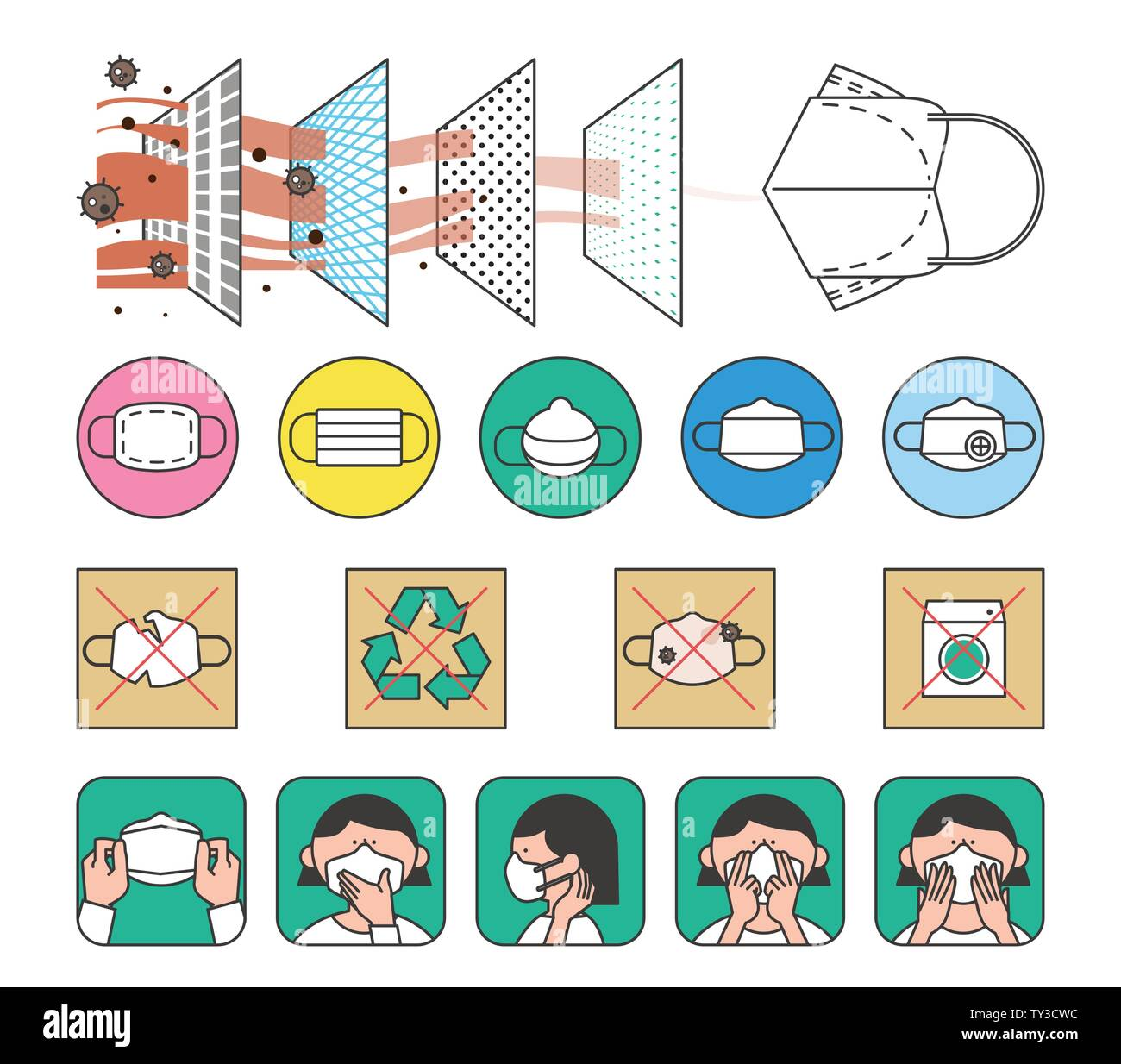 illustration of attention to health and safety when the seasons change 006 Stock Vector