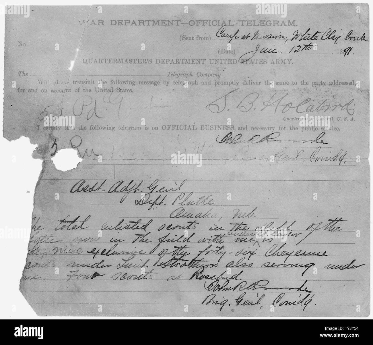 Enumeration of Scouts; Scope and content:  This is document pertains to: Correspondence Between Military Officers Regarding Wounded Knee Tragedy. November 24, 1890 to January 24, 1891. - Stock Image