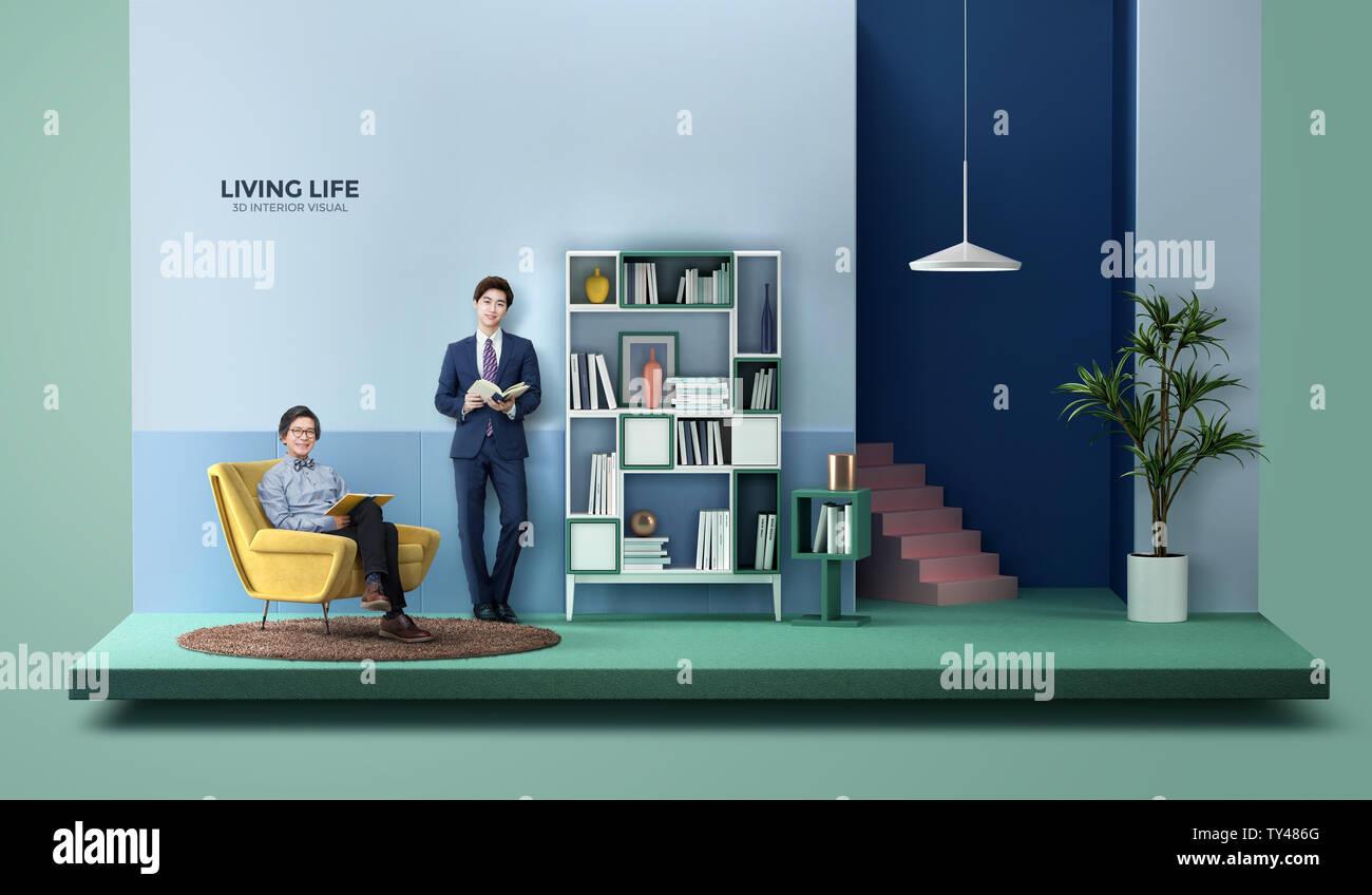 Living life, 3D interior visual 005 - Stock Image