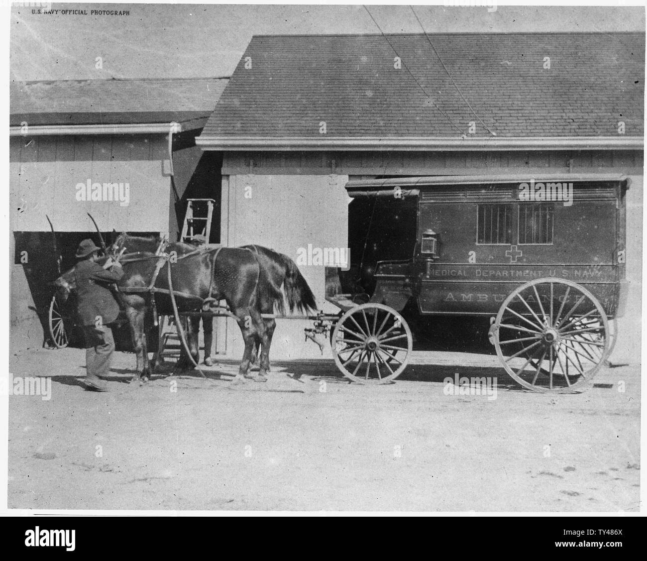 First Ambulance ,1865, US Navy Yard, Mare Island, CA Stock Photo