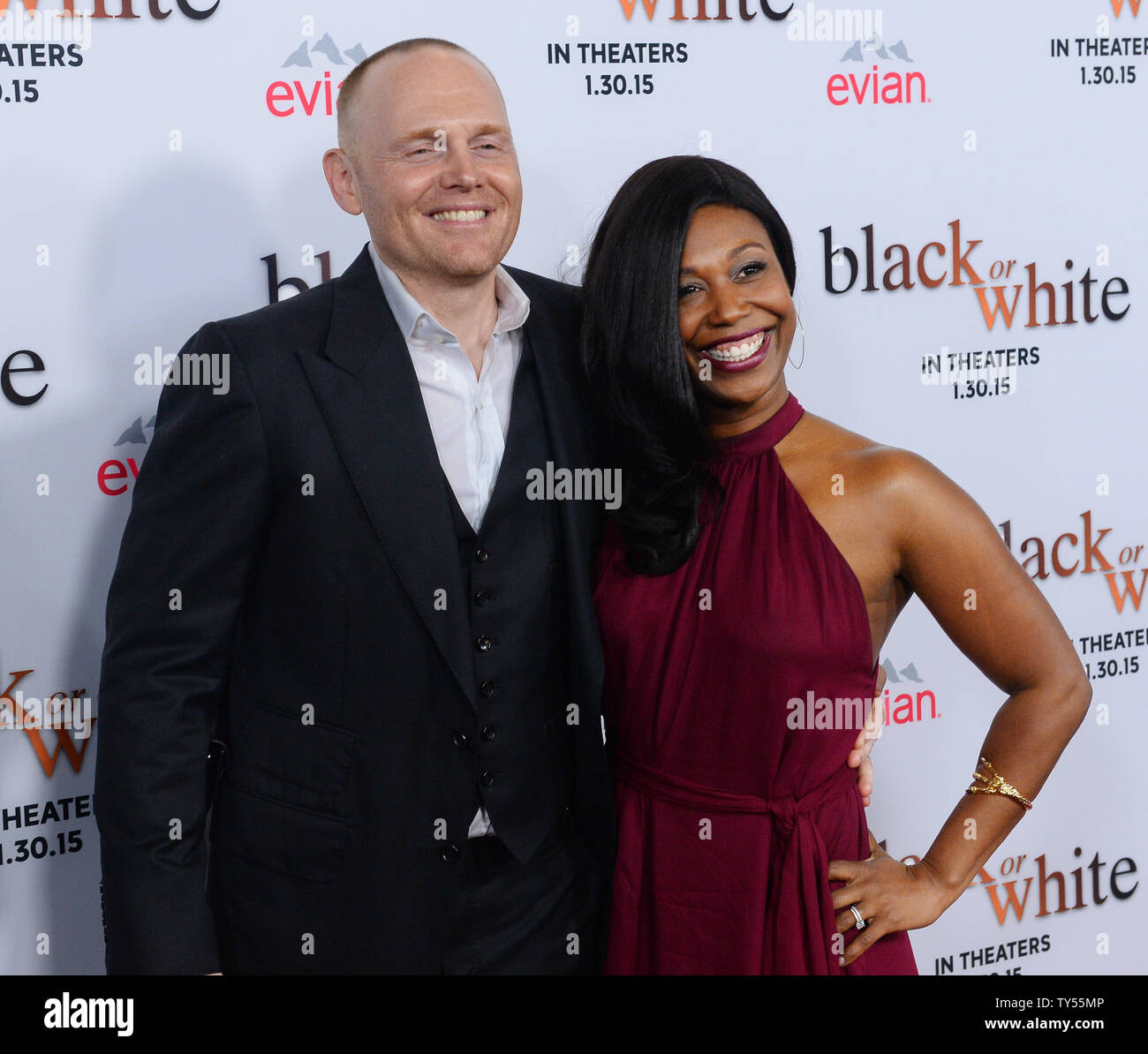 Cast Member Bill Burr And His Wife Nia Renee Hill Attend The Premiere Of The Motion Picture Drama Black Or White At The Regal Theatre In Los Angeles On January 20 2015