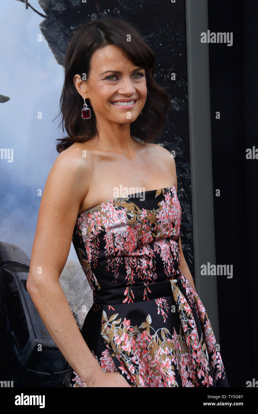 Cast member Carla Gugino attends the premiere of the motion
