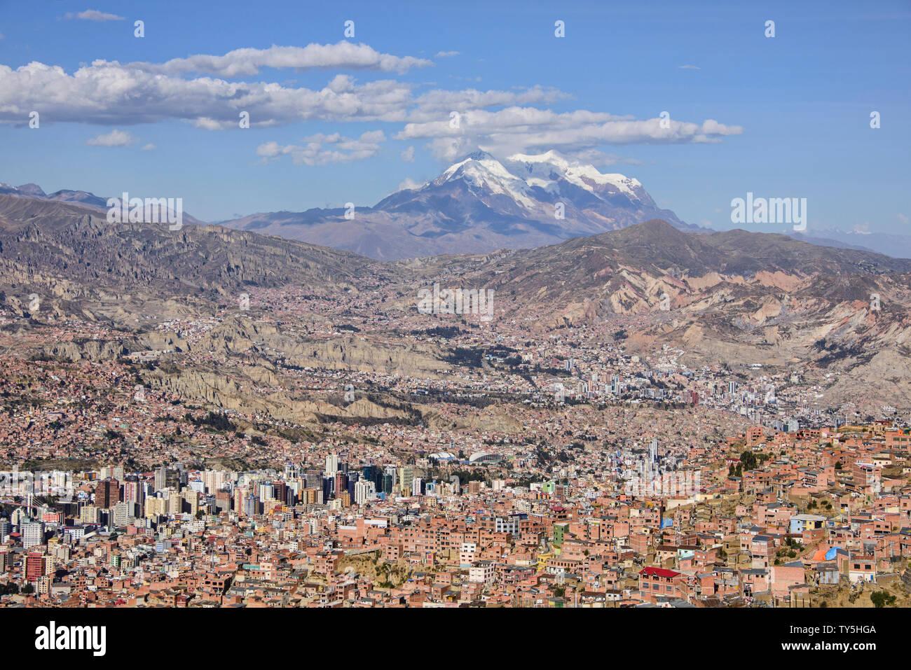 View of La Paz and Illimani from El Alto, Bolivia Stock Photo