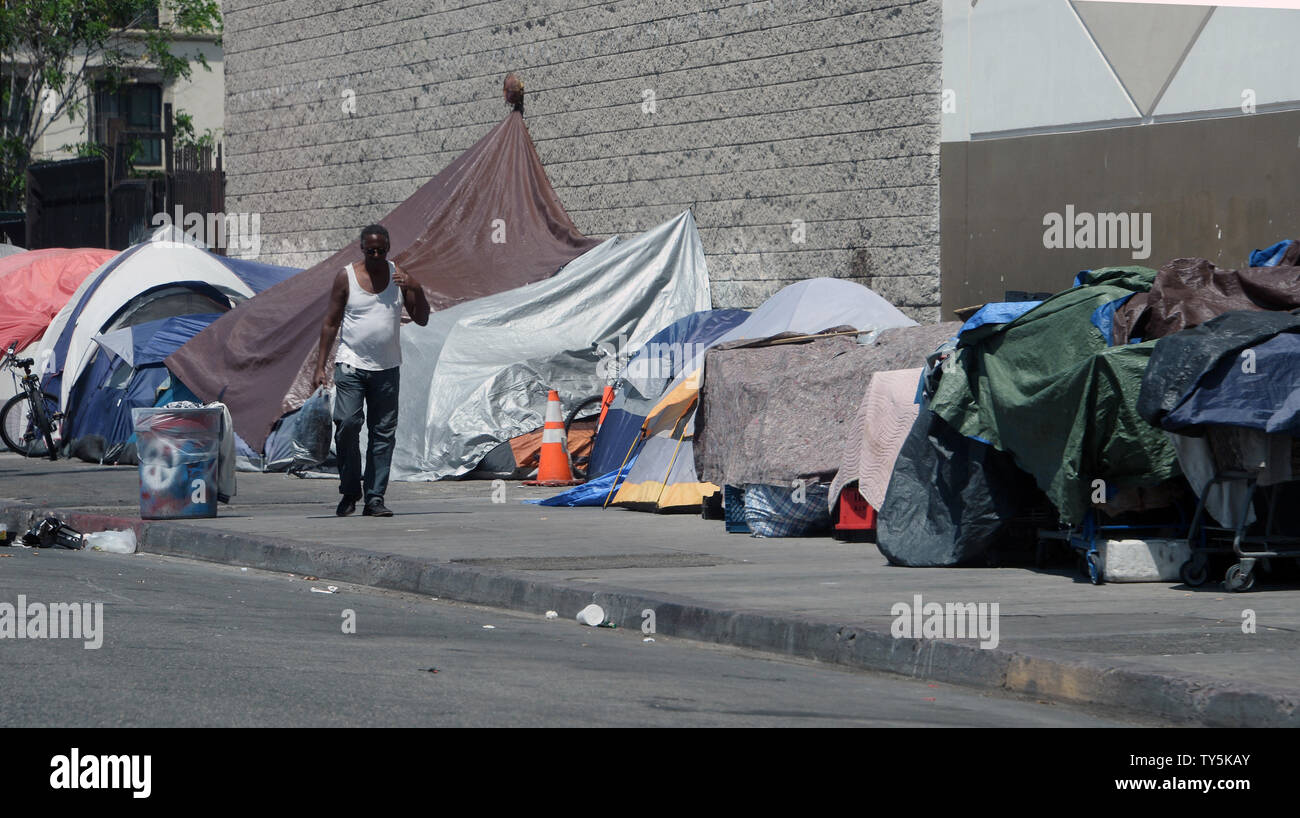 Homeless Encampments Remain In The Skid Row Section Of Los Angeles On August 23 2015 The