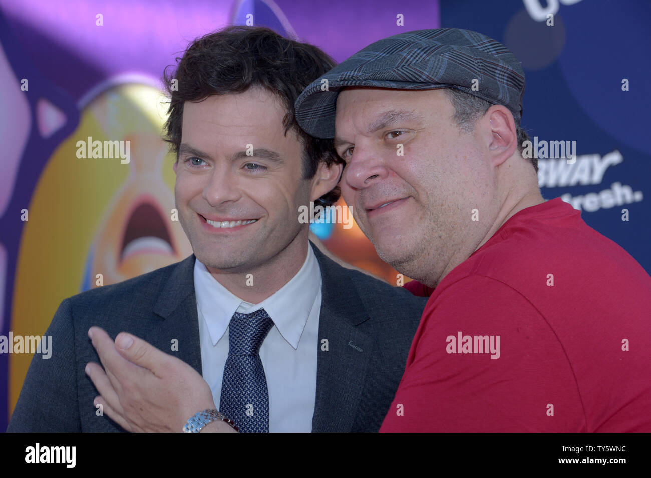 Cast member Bill Hader (L), the voice of Fear in the