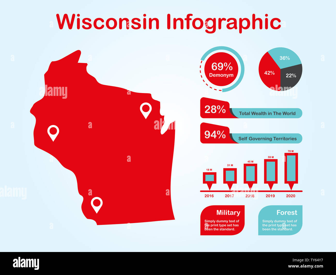 Wisconsin State (USA) Map with Set of Infographic Elements ...