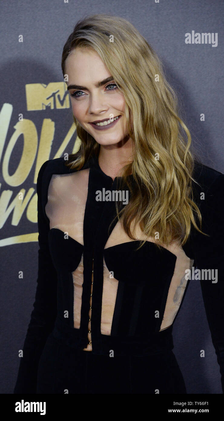 Actress Cara Delevingne Attends The Mtv Movie Awards At Warner Bros Studios In Burbank California On