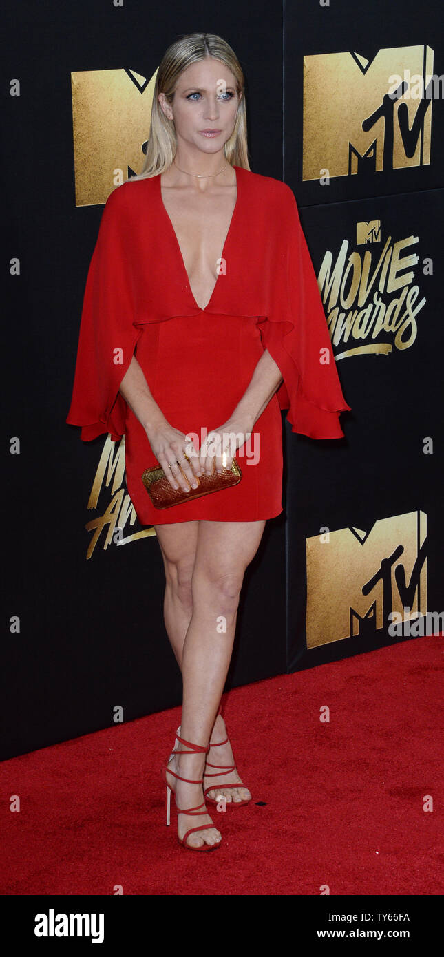 Actress Brittany Snow attends the MTV Movie Awards at Warner Bros. Studios in Burbank, California on April 9, 2016. The MTV Movie Awards airs Sunday, April 10 at 8pm ET/PT.  Photo by Jim Ruymen/UPI - Stock Image