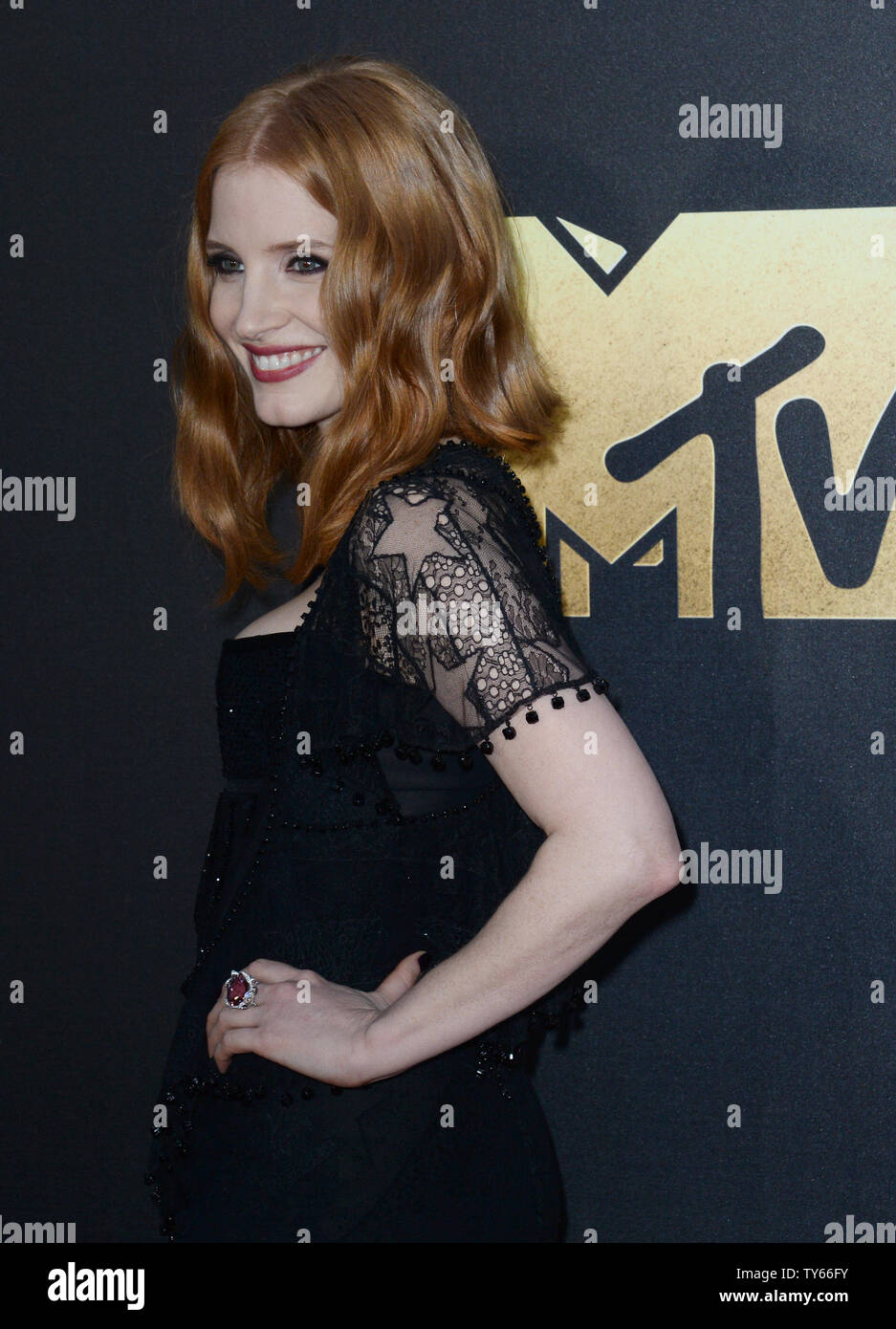 Actress Jessica Chastain attends the MTV Movie Awards at Warner Bros. Studios in Burbank, California on April 9, 2016. The MTV Movie Awards airs Sunday, April 10 at 8pm ET/PT.  Photo by Jim Ruymen/UPI - Stock Image
