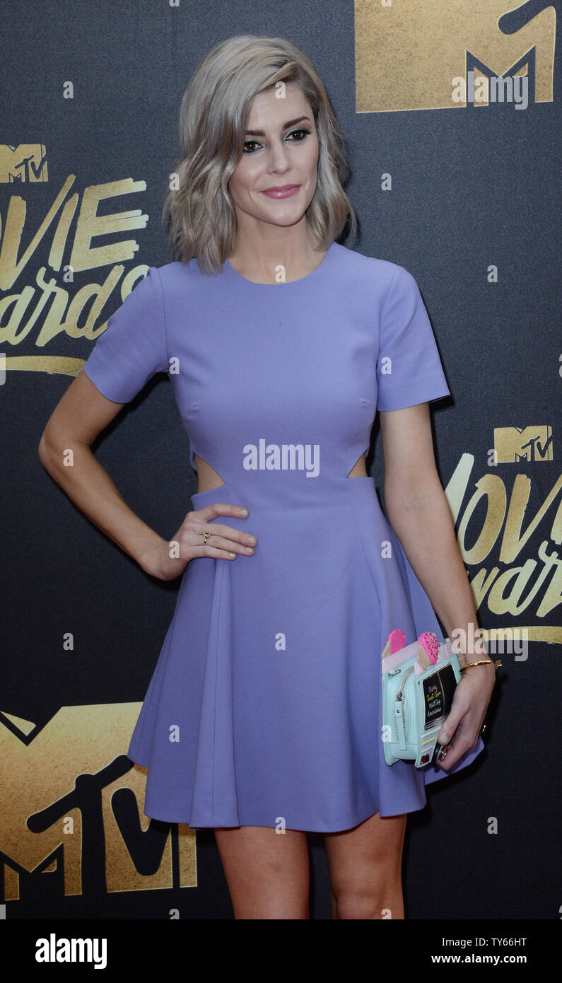 Comedienne Grace Helbig attends the MTV Movie Awards at Warner Bros. Studios in Burbank, California on April 9, 2016. The MTV Movie Awards airs Sunday, April 10 at 8pm ET/PT.  Photo by Jim Ruymen/UPI - Stock Image