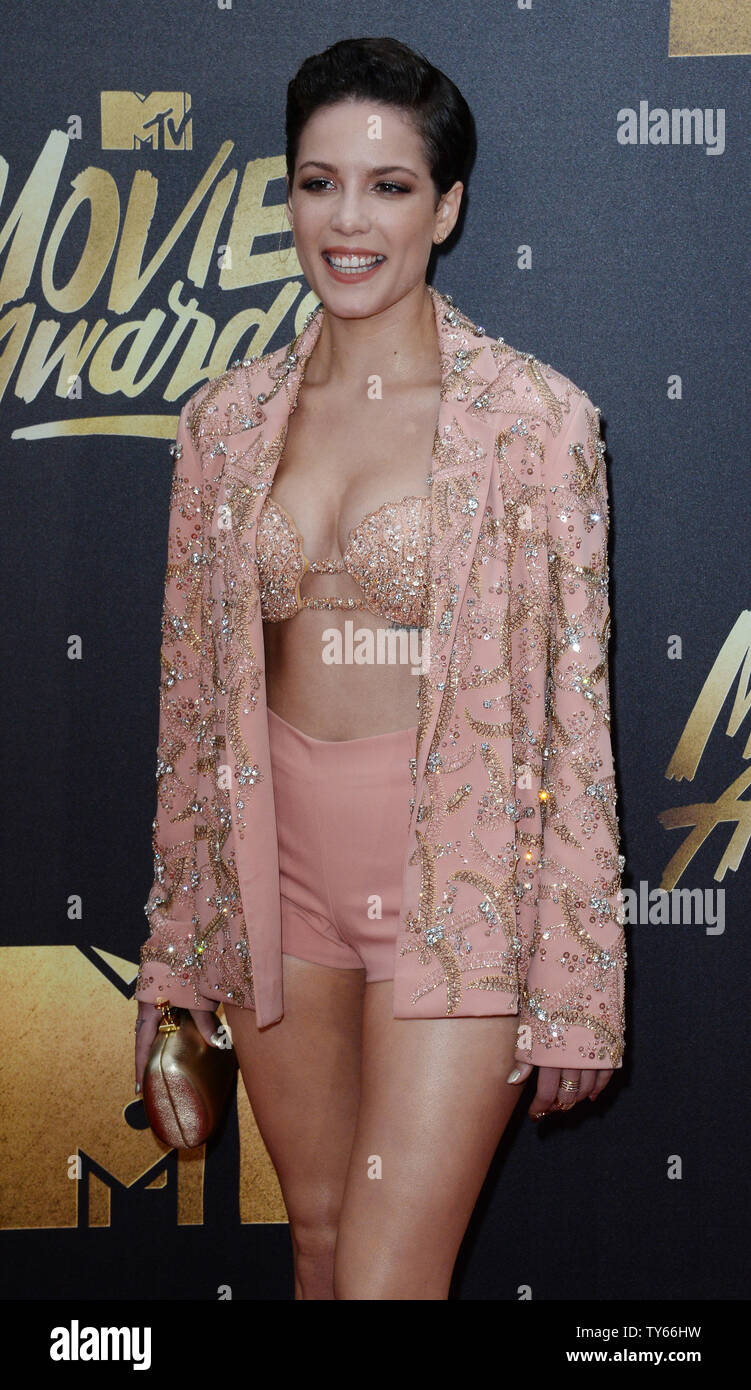 Recording artist Halsey attends the MTV Movie Awards at Warner Bros. Studios in Burbank, California on April 9, 2016. The MTV Movie Awards airs Sunday, April 10 at 8pm ET/PT.  Photo by Jim Ruymen/UPI - Stock Image