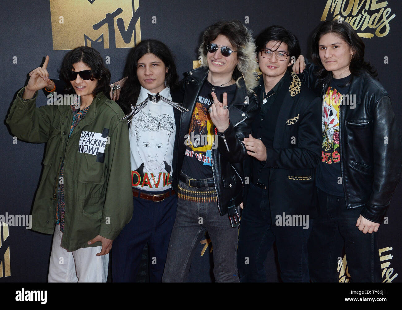 'The Wolfpack' Angulo Brothers attend the MTV Movie Awards at Warner Bros. Studios in Burbank, California on April 9, 2016. The MTV Movie Awards airs Sunday, April 10 at 8pm ET/PT.  Photo by Jim Ruymen/UPI - Stock Image