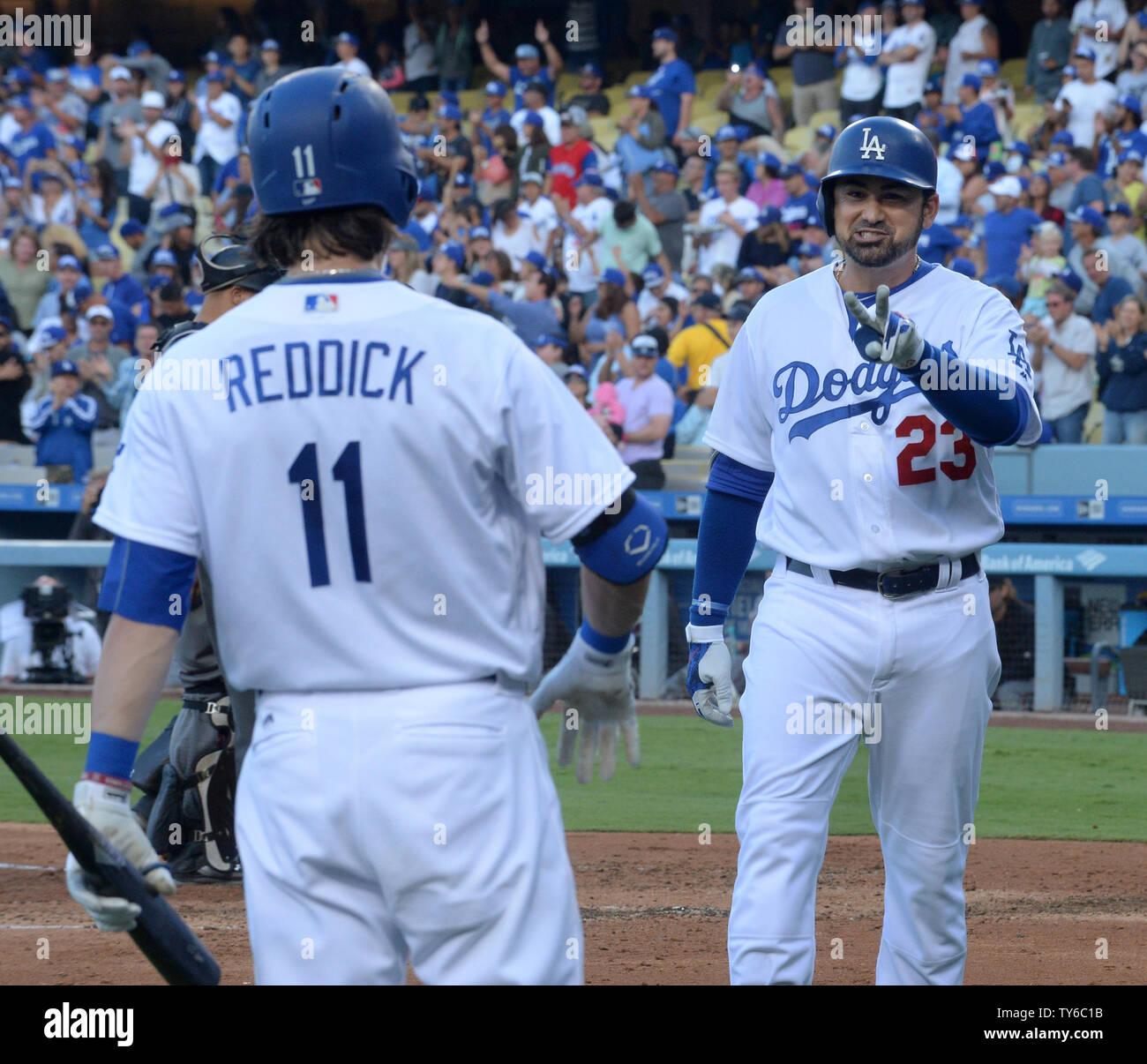 competitive price 17c3c aa2bd Los Angeles Dodgers' Adrian Gonzalez celebrates with ...