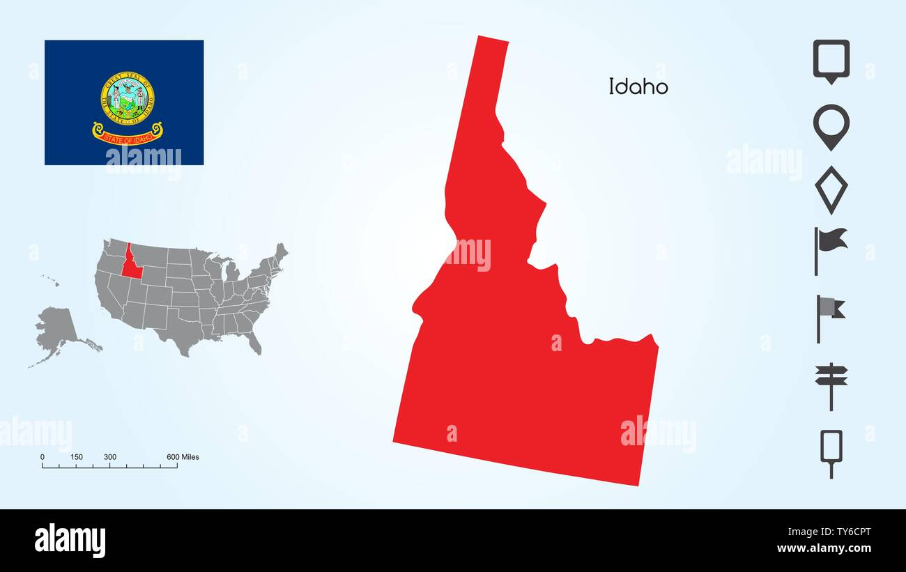 Map of The United States of America with the Selected State of Idaho And Idaho Flag with Locator Collection. - Stock Vector