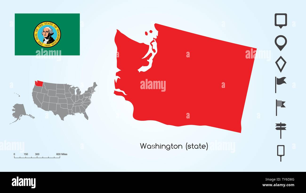 Map of The United States of America with the Selected State of Washington And Washington Flag with Locator Collection. - Stock Vector