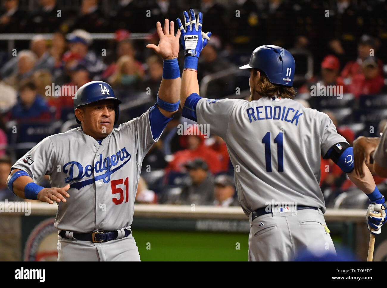 new arrival 93615 260a6 Los Angeles Dodgers Carlos Ruiz high fives teammate Josh ...