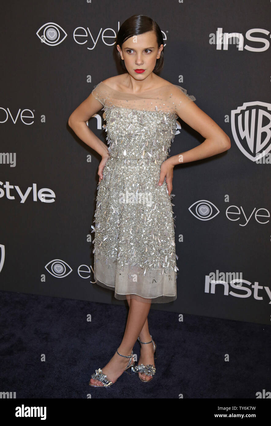 Millie Bobby Brown attends the 18th annual InStyle and Warner Bros. Golden Globe after-party at the Beverly Hilton Hotel in Beverly Hills, California on January 8, 2017.  Photo by David Silpa/UPI - Stock Image