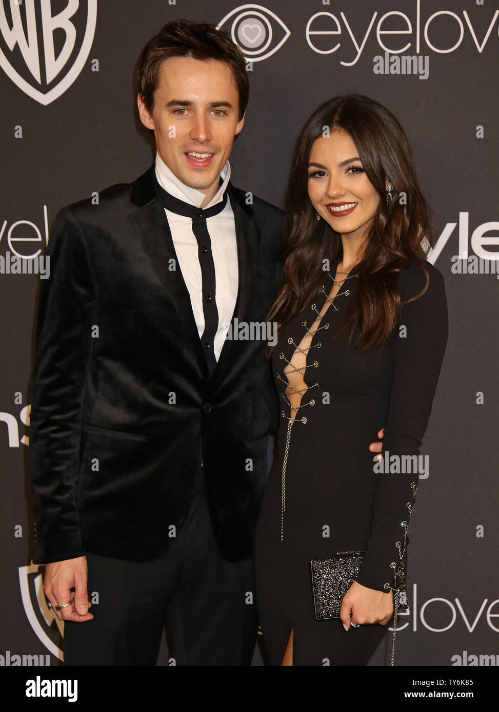 Reeve Carney (L) and Victoria Justice attend the 18th annual InStyle and Warner Bros. Golden Globe after-party at the Beverly Hilton Hotel in Beverly Hills, California on January 8, 2017.  Photo by David Silpa/UPI - Stock Image