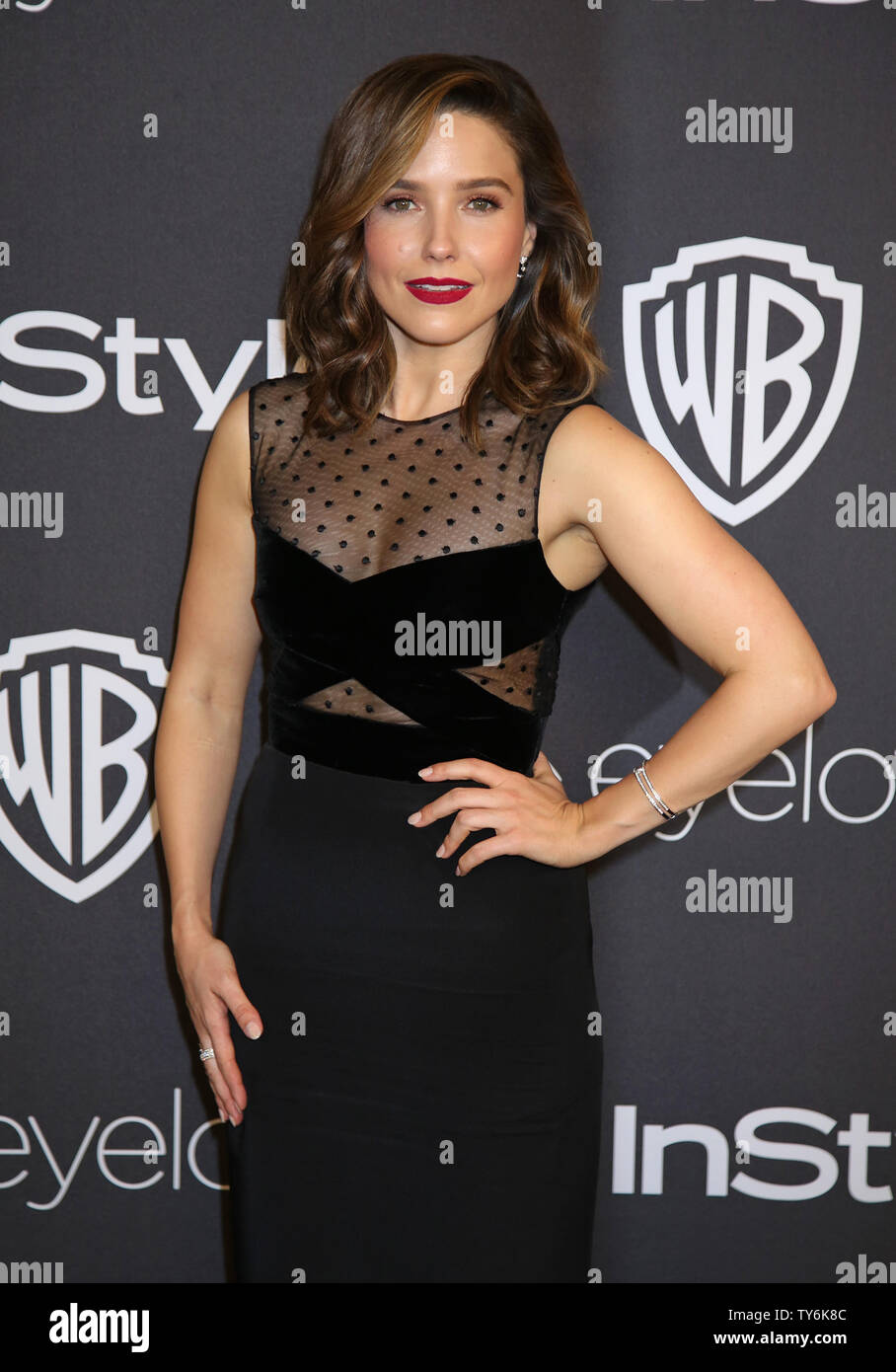 Sophia Bush attends the 18th annual InStyle and Warner Bros. Golden Globe after-party at the Beverly Hilton Hotel in Beverly Hills, California on January 8, 2017.  Photo by David Silpa/UPI - Stock Image