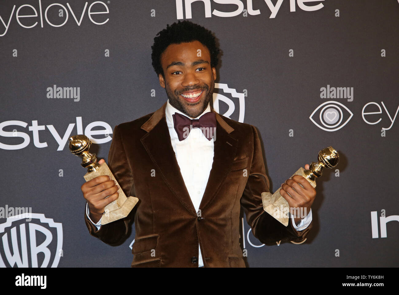Donald Glover attends the 18th annual InStyle and Warner Bros. Golden Globe after-party at the Beverly Hilton Hotel in Beverly Hills, California on January 8, 2017.  Photo by David Silpa/UPI - Stock Image
