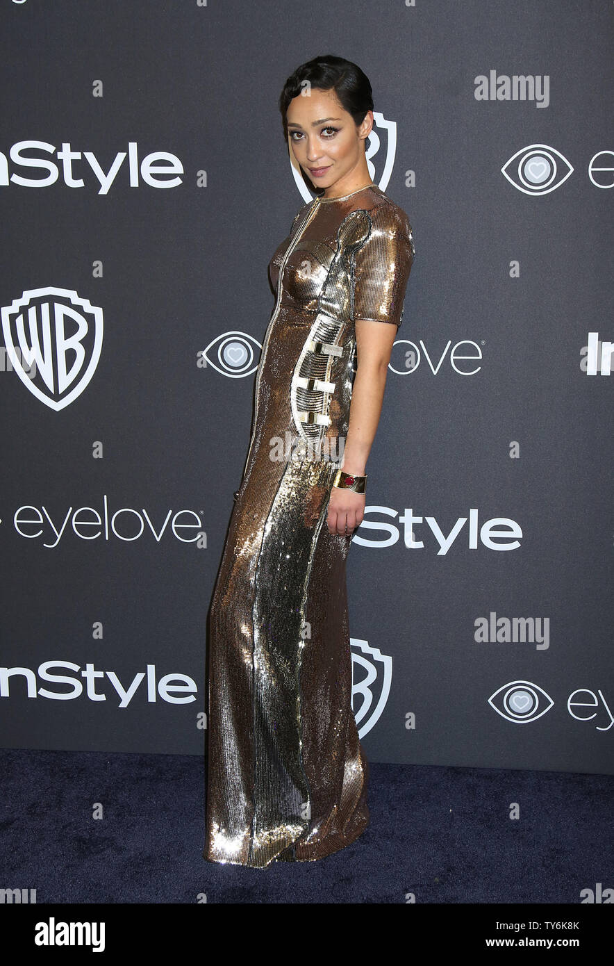 Ruth Negga attends the 18th annual InStyle and Warner Bros. Golden Globe after-party at the Beverly Hilton Hotel in Beverly Hills, California on January 8, 2017.  Photo by David Silpa/UPI - Stock Image
