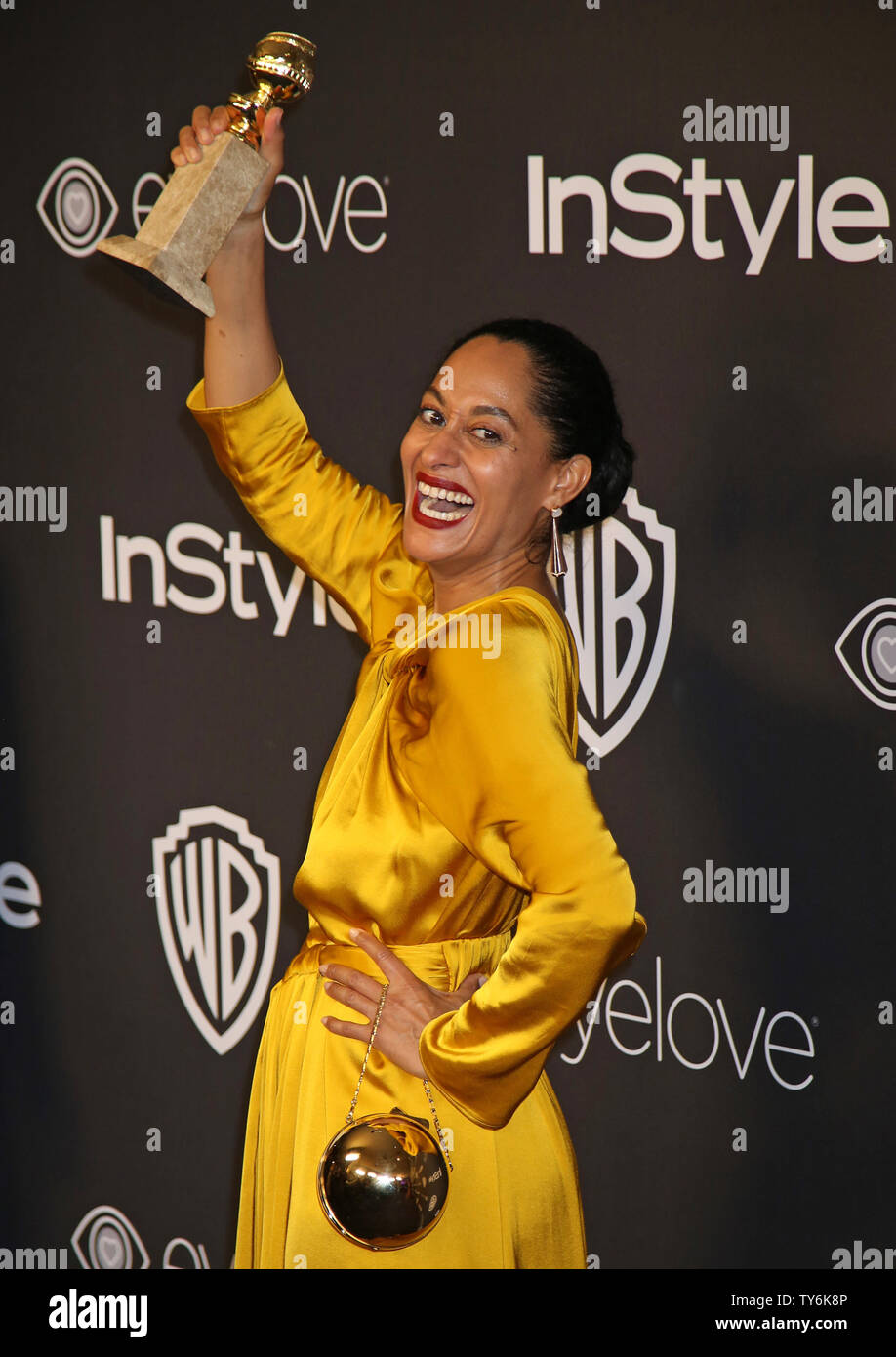 Tracee Ellis Ross attends the 18th annual InStyle and Warner Bros. Golden Globe after-party at the Beverly Hilton Hotel in Beverly Hills, California on January 8, 2017.  Photo by David Silpa/UPI - Stock Image