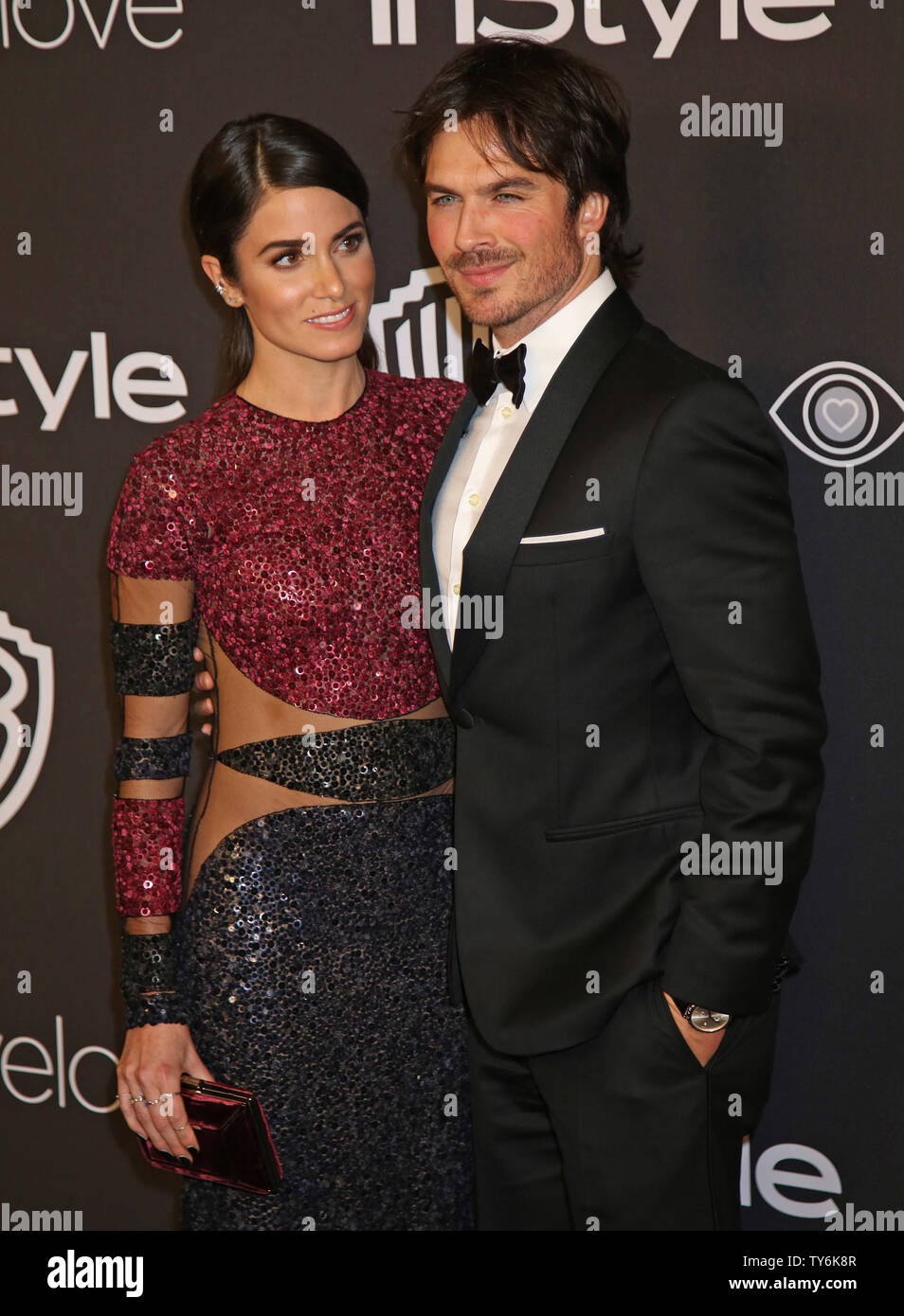 Nikki Reed (L) and Ian Somerhalder attend the 18th annual InStyle and Warner Bros. Golden Globe after-party at the Beverly Hilton Hotel in Beverly Hills, California on January 8, 2017.  Photo by David Silpa/UPI - Stock Image