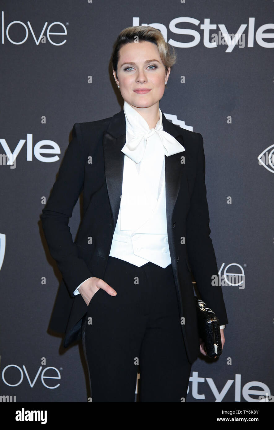 Evan Rachel Wood attends the 18th annual InStyle and Warner Bros. Golden Globe after-party at the Beverly Hilton Hotel in Beverly Hills, California on January 8, 2017.  Photo by David Silpa/UPI - Stock Image
