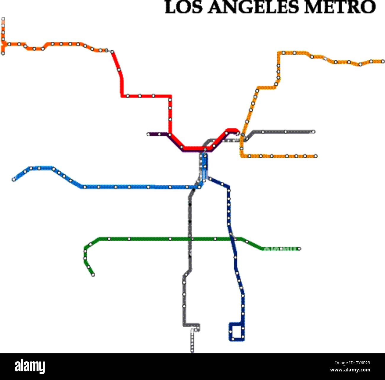 Las Angeles Underground Subway Map.Map Of The Los Angeles Metro Subway Template Of City