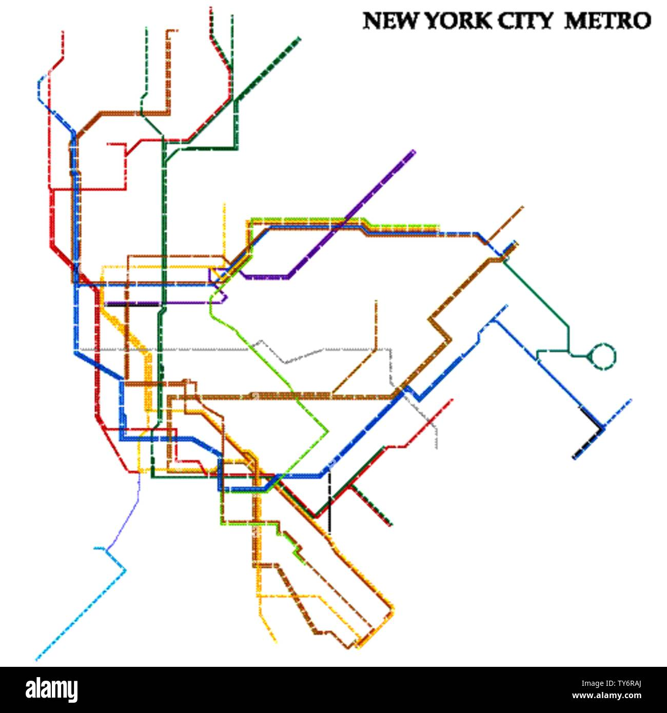 Map of the New York City metro, Subway, Template of city transportation scheme for underground road. Stock Vector