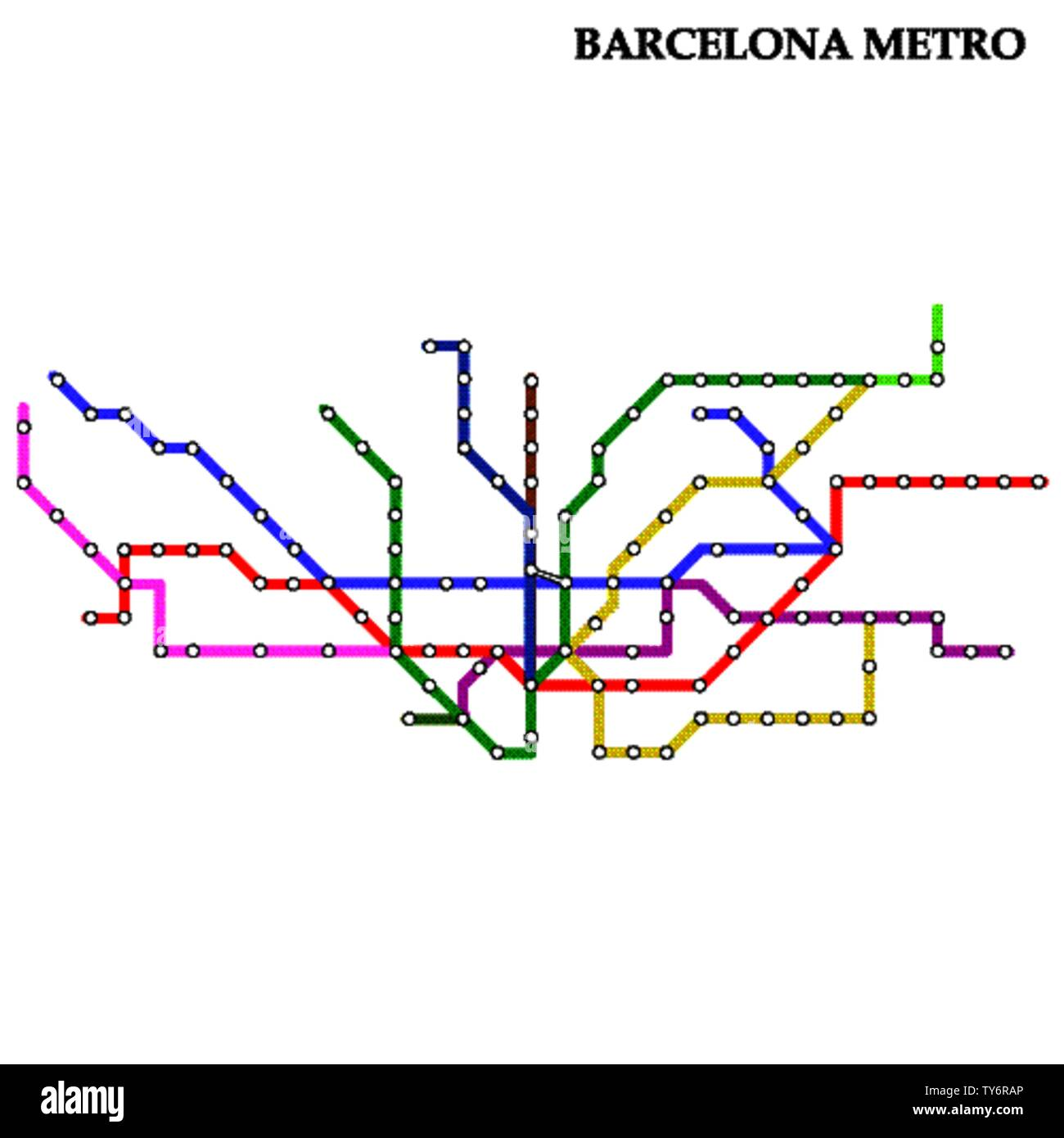 Map of the Barcelona metro, Subway, Template of city transportation scheme for underground road. Stock Vector