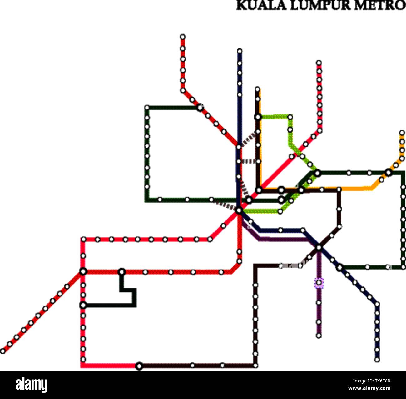 Map of the Kuala Lumpur metro, Subway, Template of city transportation scheme for underground road. Stock Vector