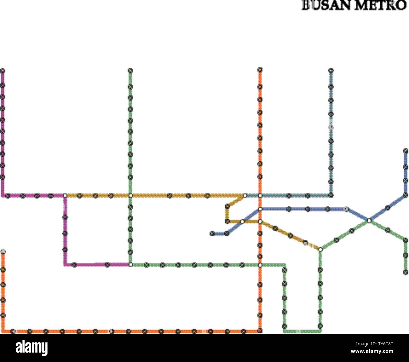 Map of the Busan metro, Subway, Template of city transportation scheme for underground road. Stock Vector
