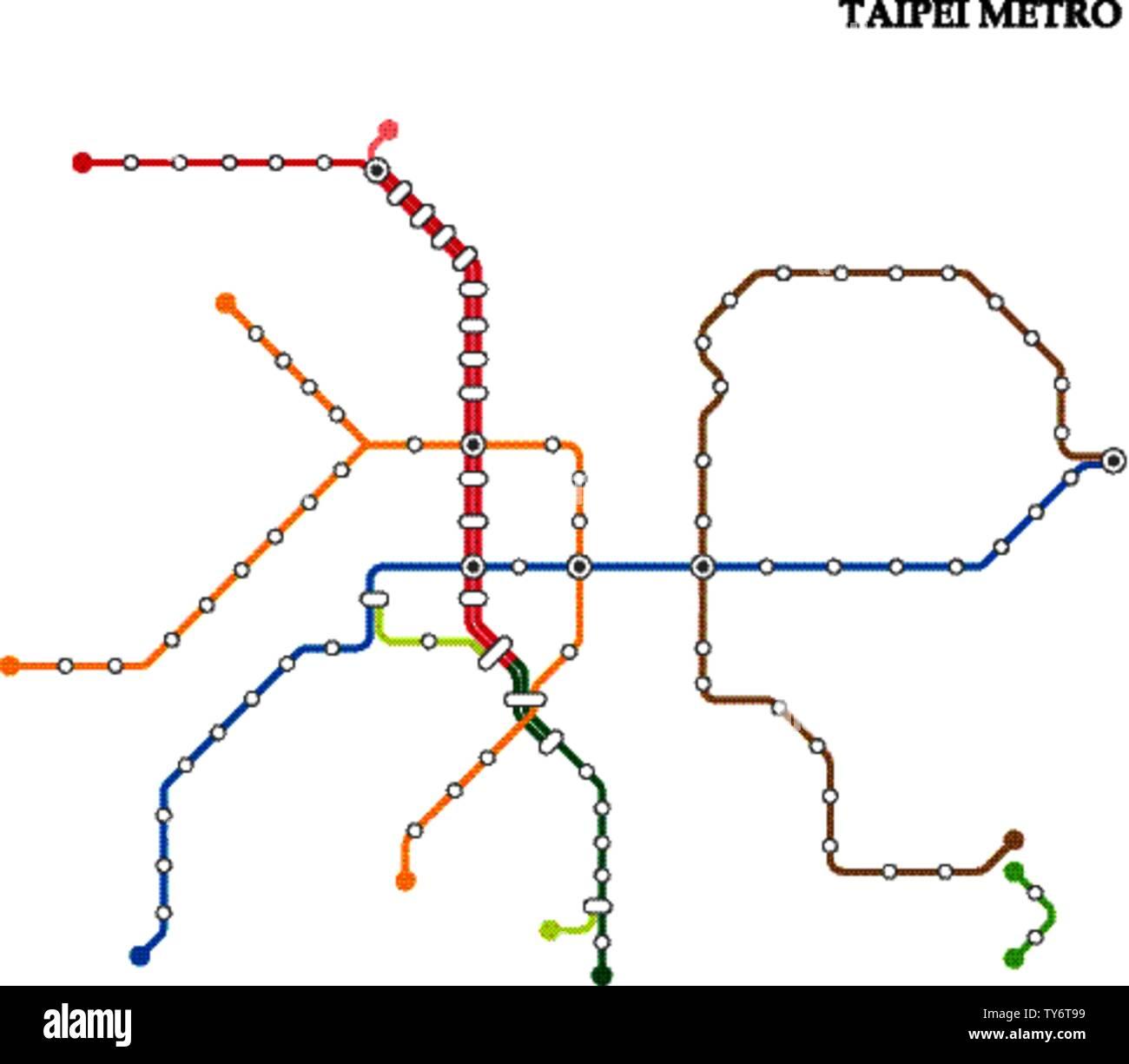 Subway Map Taipei.Map Of The Taipei Metro Subway Template Of City Transportation