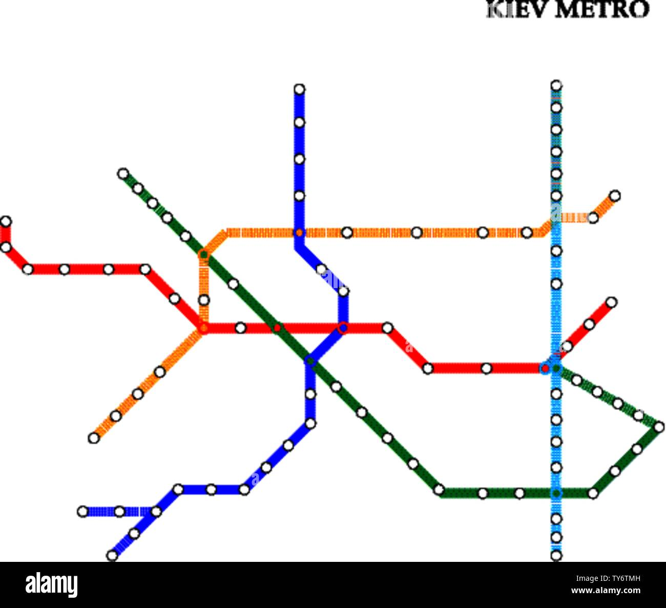 Map of the Kiev metro, Subway, Template of city transportation scheme for underground road. Stock Vector