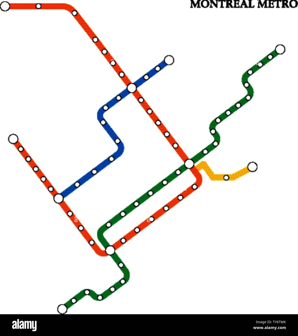 Montrrsl Subway Map.Map Of The Montreal Metro Subway Template Of City Transportation